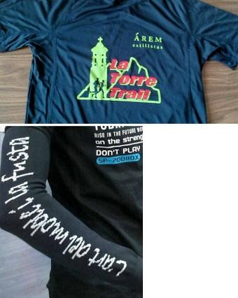 Camiseta y manguitos de la bolsa del corredor