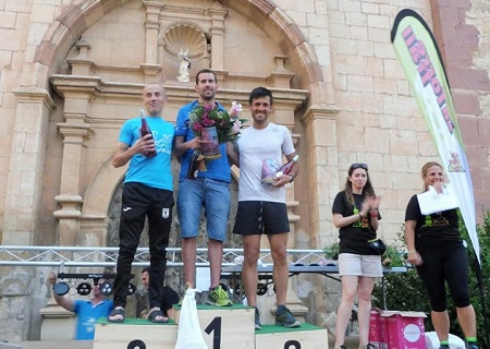 El podium absoluto masculino de esta quinta edición de la Torre de las Arcas Trail estuvo formado por Carlos Jávega, Raúl Carreras y Santi Moreno.
